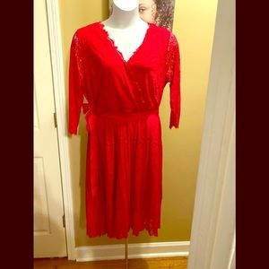 Lane Bryant Red Lace Coverlet style Dress